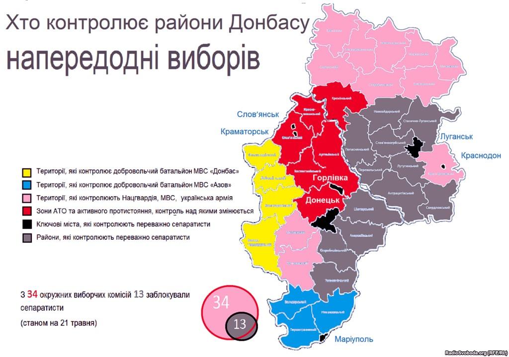 Кто контролирует районы Донбасса накануне выборов