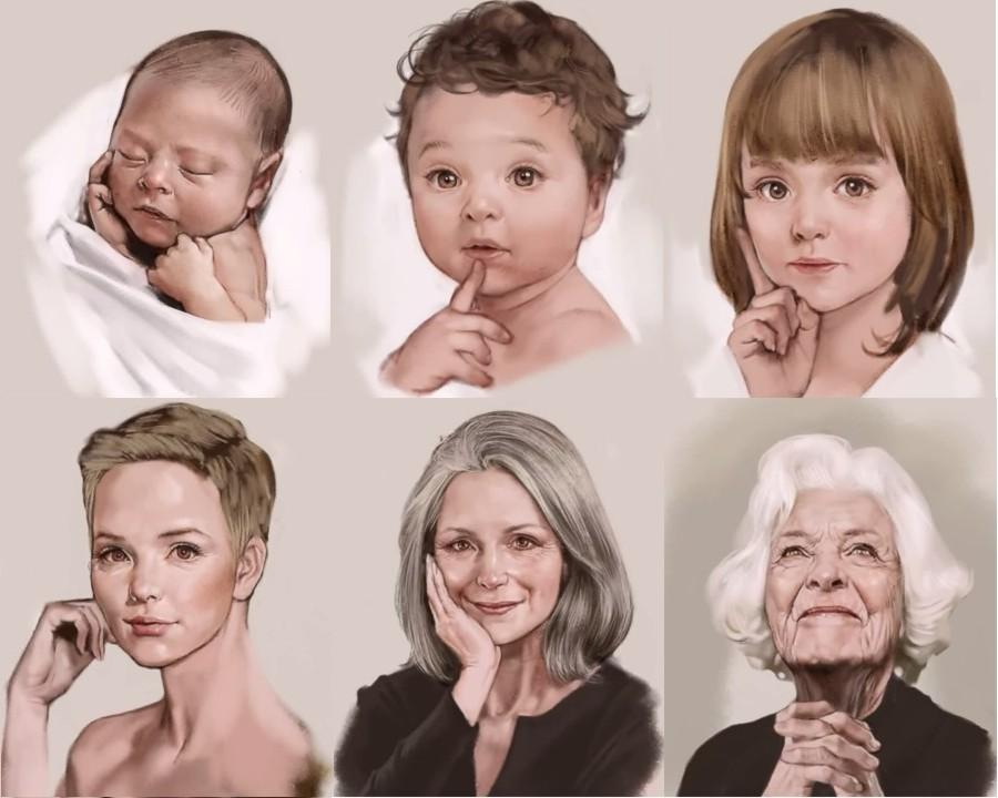 Художник нарисовал жизнь женщины за 4 минуты...