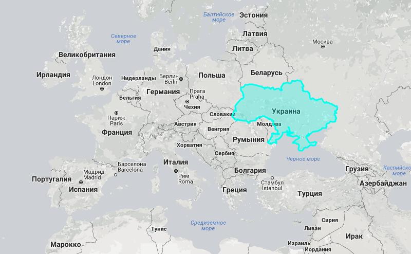 Украина на карте мира