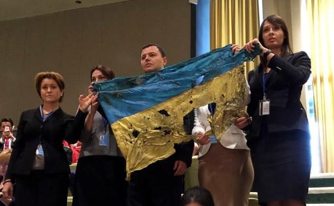 Украинская делегация устроила демарш во время выступления Путина в ООН