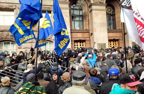 В Киеве произошли столкновения между протестующими и милицией