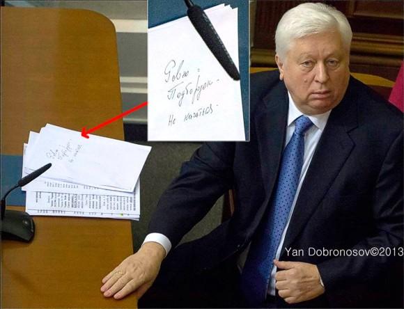 Шпаргалка Пшонки по отчету о разгоне Евромайдана: «Ровно подбородок. Не качаться»