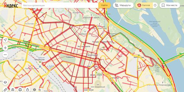 В центре Киева образовались 9-бальные пробки