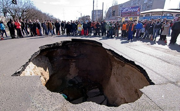 В Одессе провалилась дорога