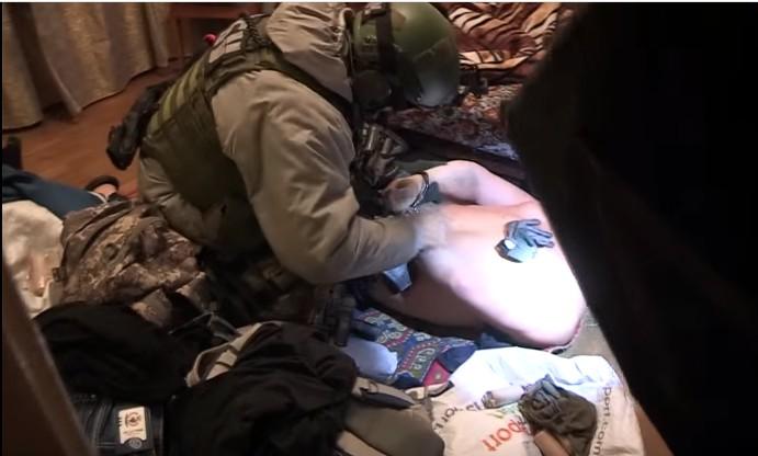 Видео задержания российских террористов в Киеве появилось в интернете